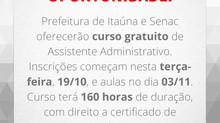 Prefeitura de Itaúna e Senac oferecerão curso gratuito de Assistente Administrativo