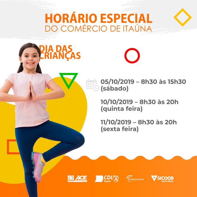 Horário especial do comércio de Itaúna no Dia das Crianças