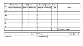 Hours worked Weekly time sheet mary roe