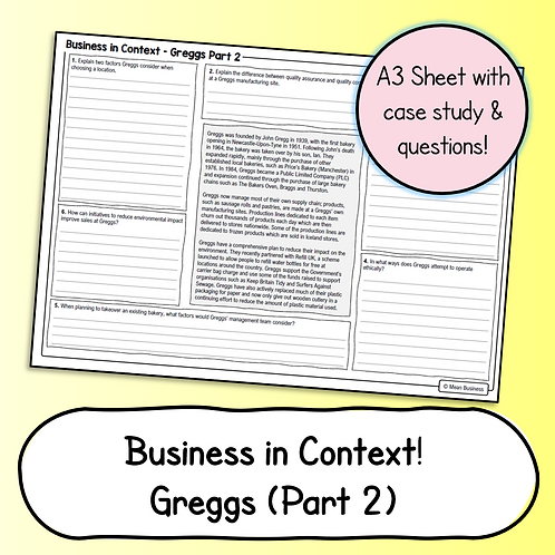 Business Case Study & Questions - Greggs Part 2