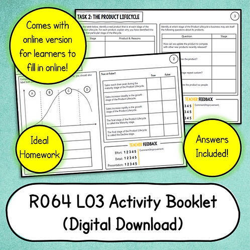 R064 LO3 Activity Booklet (Printable or Host/Complete Online)