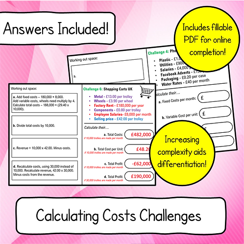 Topic 5.3 - Business Costs Challenge Booklet