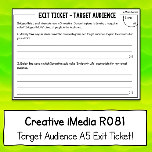 Creative iMedia Target Audience A5 Exit Ticket