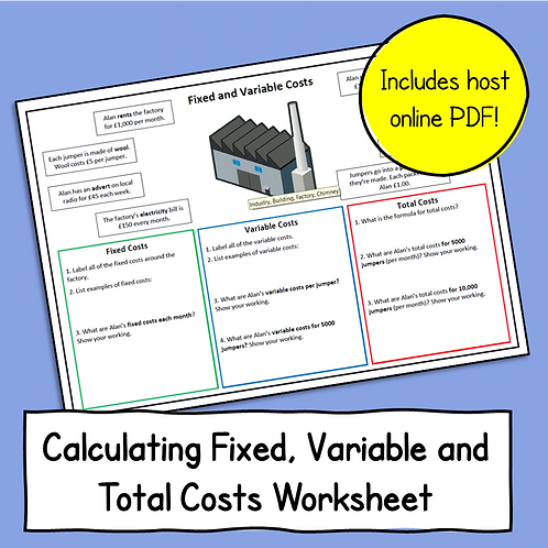 Topic 5.3 Calculating Fixed, Variable & Total Costs Sheet