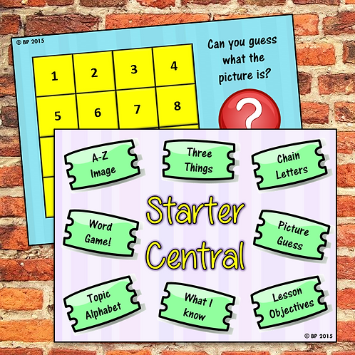 'Starter Central' Planning Template for Starters / Do Now Activities