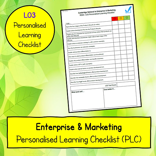 R064 LO3 Personalised Learning Checklist (PLC)