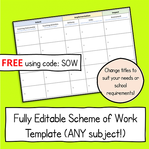 Blank Scheme of Work Word Template (Free)