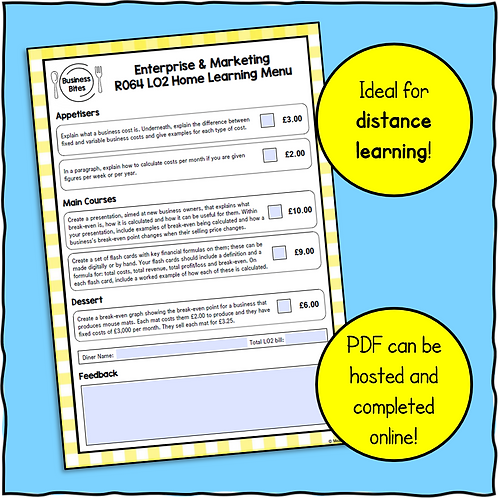 R064 LO2 Home Learning Menu!