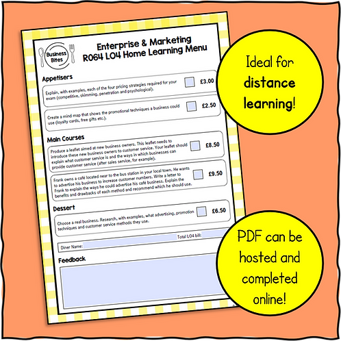 R064 LO4 Home Learning Menu!