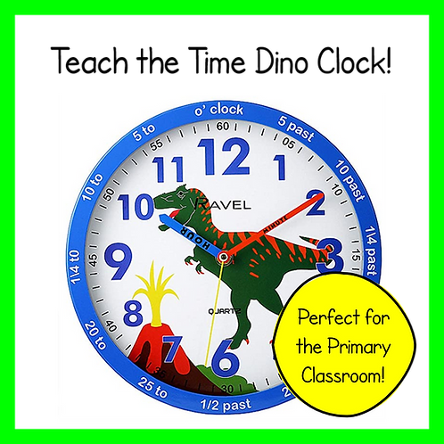 Dinosaur Teach the Time Wall Clock