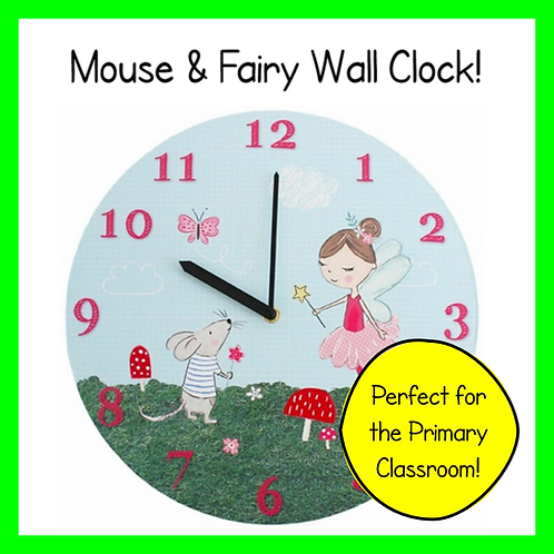 Fairy & Mouse Classroom Wall Clock