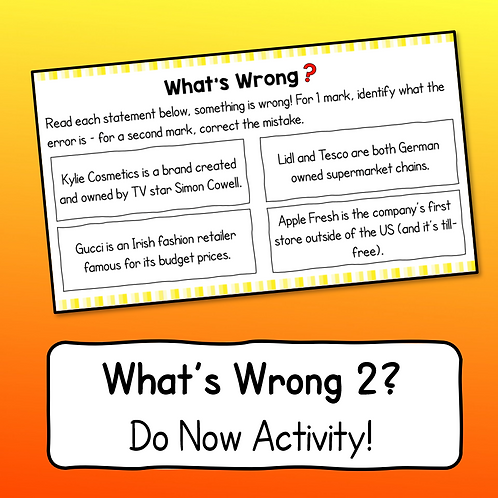 What's Wrong 2? Business Studies Do Now Activity
