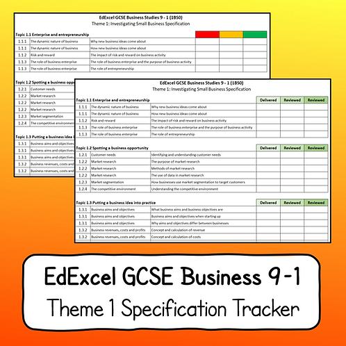 EdExcel GCSE Business Studies Theme 1 Specification Tracker