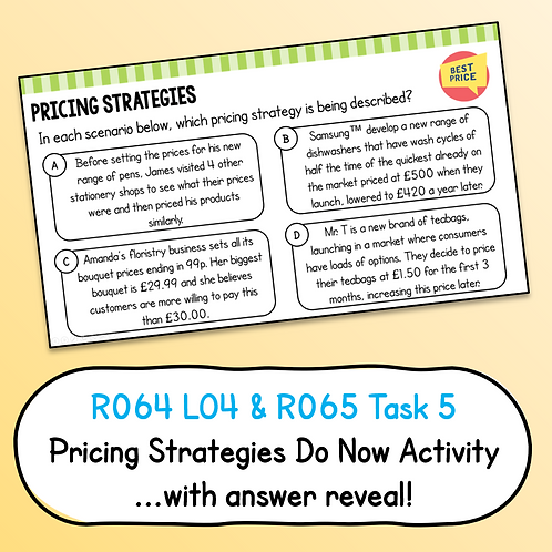 Pricing Strategies Do Now / Starter Activity