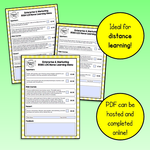 R064 Home Learning Menus Bundle (all LOs)