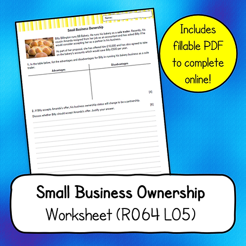 R064 LO5 Small Business Ownership Worksheet