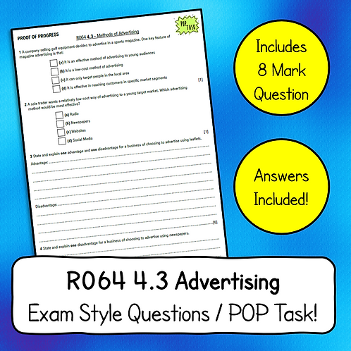 R064 4.3 Advertising Methods Exam Style Questions