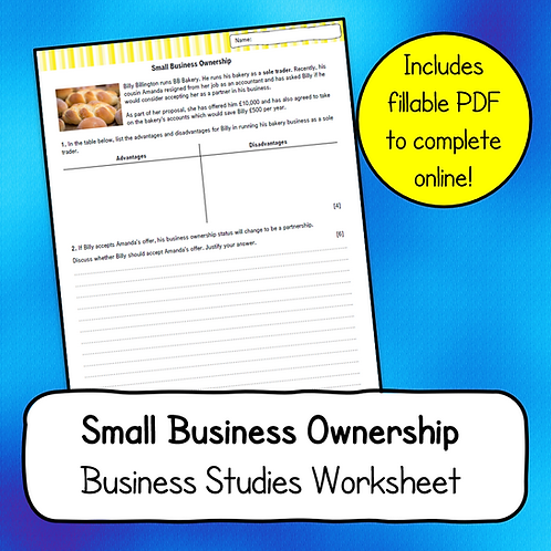 Small Business Ownership Worksheet