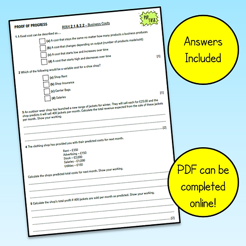 R064 2.1 & 2.2 Business Costs Exam Style Questions
