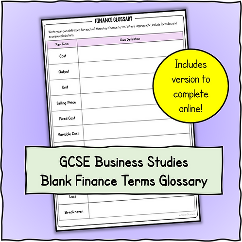 Finance Terms Blank Glossary Sheet