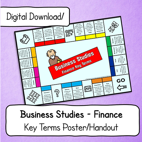 Business Finance Key Terms Display Poster / Handout