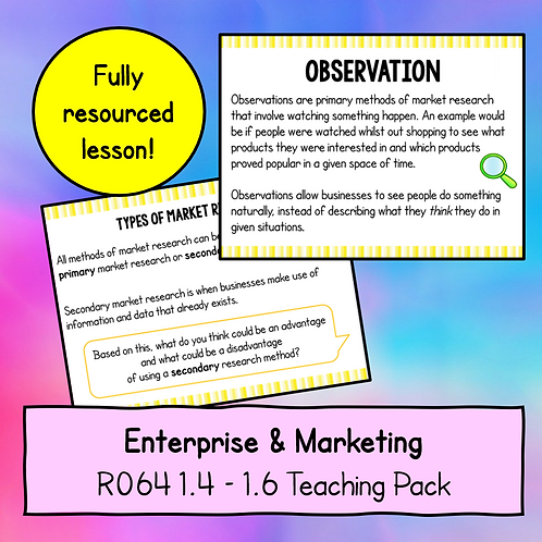 R064 1.4 - 1.6 Teaching Pack (Market Research)