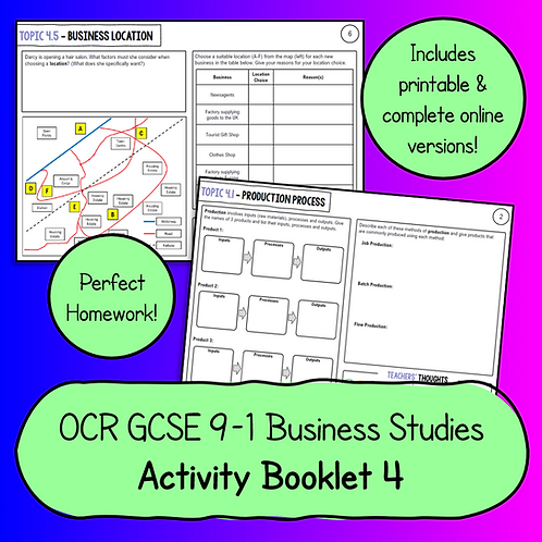 OCR GCSE Business Studies Activity Booklet 4 (Operations)