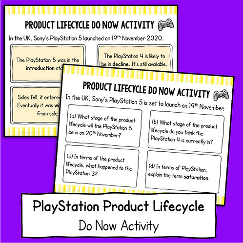 Product Lifecycle Do Now Activity (PlayStation 5)