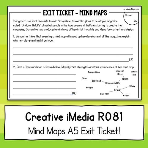 Creative iMedia Mind Maps A5 Exit Ticket