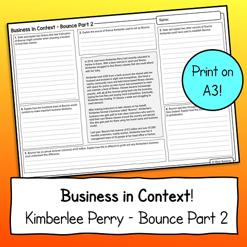 Business Case Study & Questions - Bounce (OCR Business 2)