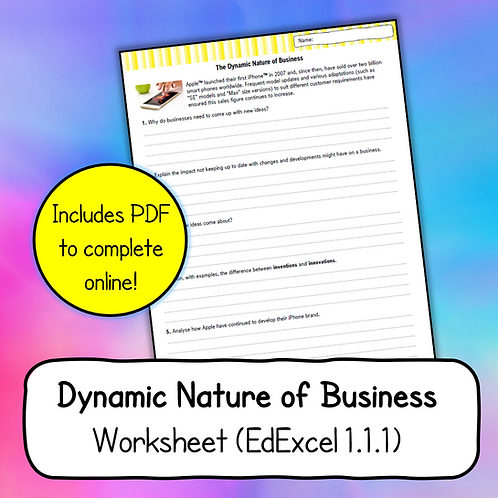 Topic 1.1.1 -Dynamic Nature of Business Worksheet