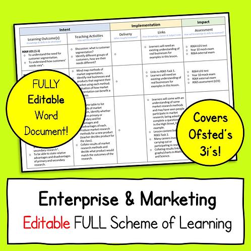 Enterprise & Marketing FULL Editable Scheme of Learning Document