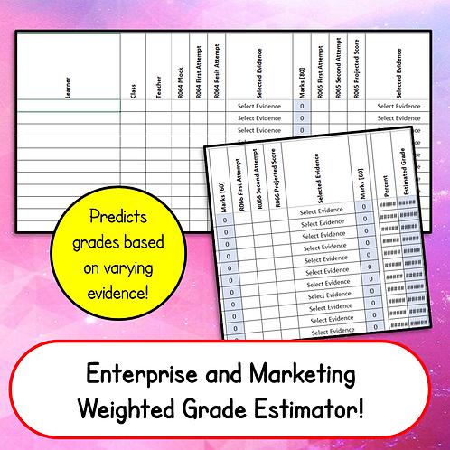 "Enterprise & Marketing ""Weighted"" Grade Estimator Spreadsheet"