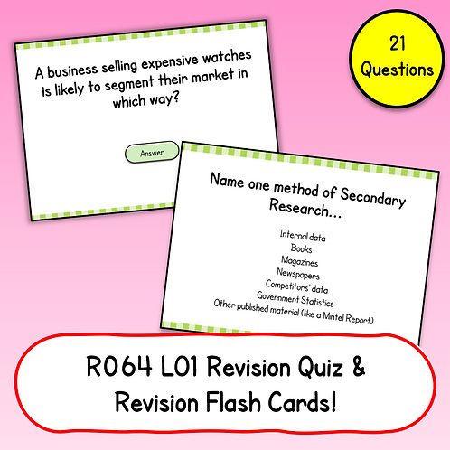 R064 LO1 Revision Quiz / Flash Cards