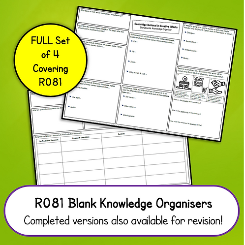 R081 Blank Knowledge Organisers Set (Printable OR Complete Online)