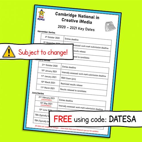 Key Dates Card for Creative iMedia 2020 - 2021 (Free)