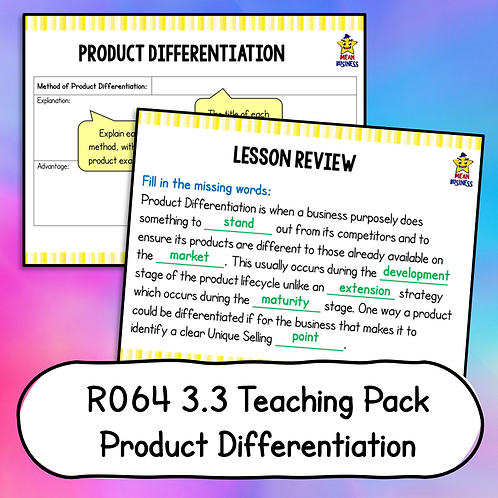 R064 3.3 Teaching Pack (Product Differentiation)