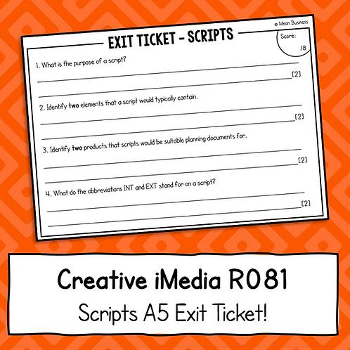 Creative iMedia Scripts A5 Exit Ticket