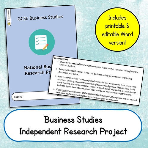 National Business Research Booklet (Independent Work)