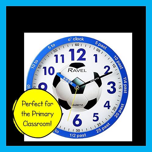 Blue Football Teach the Time Wall Clock