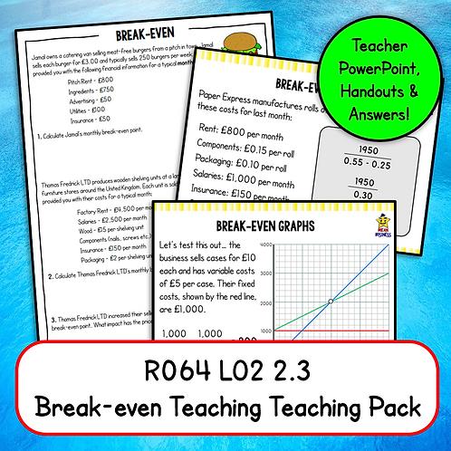 R064 2.3 Teaching Pack (Break-even)
