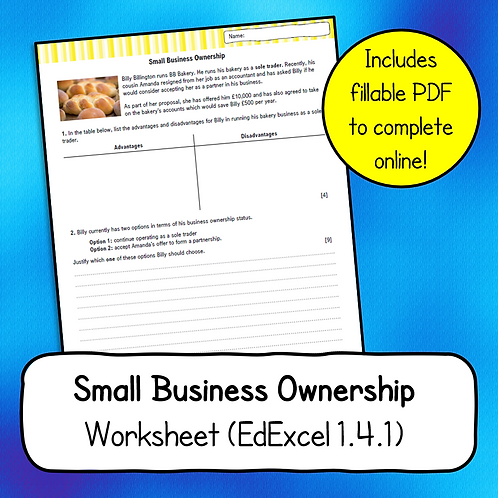Topic 1.4.1 Small Business Ownership Worksheet