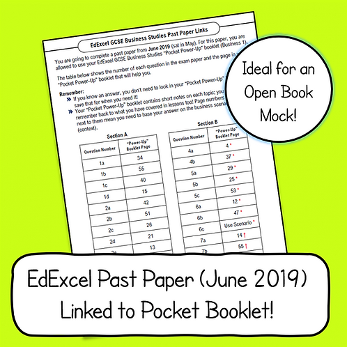EdExcel Business 1 2019 Past Paper Linked to Pocket Booklet