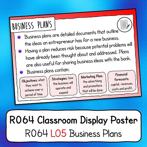 R064 LO5 - Explaining Business Plans Poster / Handout