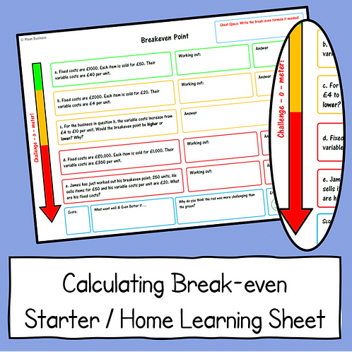 Calculating Break-even Worksheet