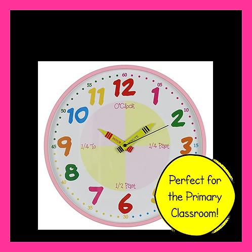 Teach the Time Classroom Wall Clock (Pink)