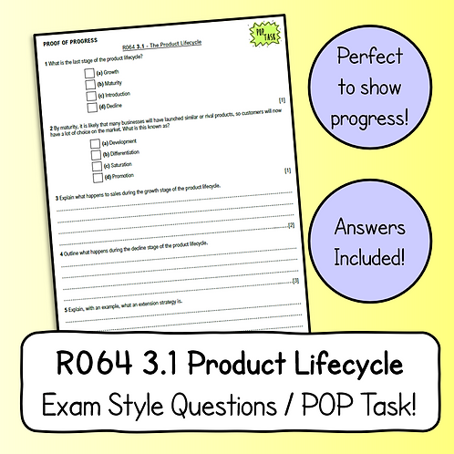 R064 3.1 Product Lifecycle Exam Style Questions