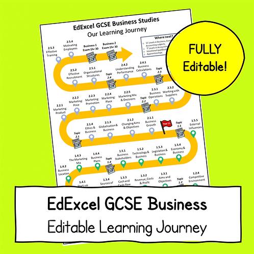EdExcel GCSE Business Studies Learning Journey - FULLY Editable!