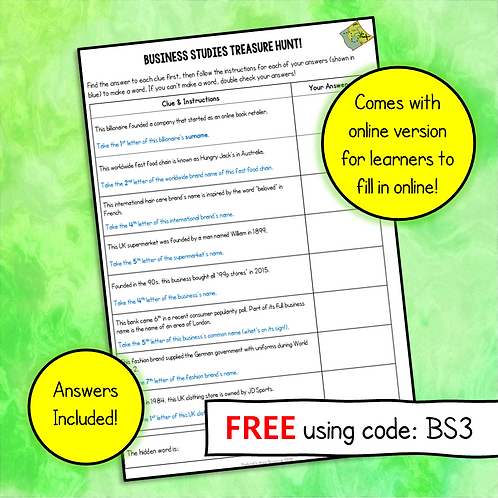 Business Studies Treasure Hunt Activity (Free)