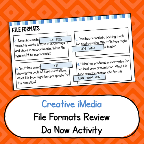 File Formats Do Now Activity